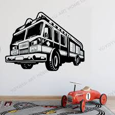 Fire Car Wall Decal Firefighter Wall Vinyl Stickers New Design Car Style Wall Murals Engine Fireman Adhesive Wallpaper Rb199 Wall Stickers Aliexpress