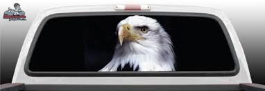Bold American America Usa Flag Bald Eagle Abstract Fantasy Tattoo Graphic Window Perf Perforated Wrap Vinyl Decal Truck Pickup Suv