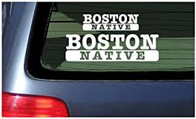 Amazon Com Boston Native White Vinyl Sticker Window Decal Automotive