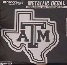 Amazon Com Texas A M Aggies 12 Large Silver Metallic Vinyl Auto Decal University Of Sports Outdoors