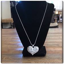 large silver filigree heart