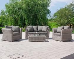grey 2 seater rattan garden sofa set