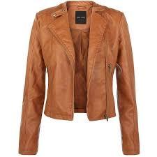 tan leather look biker jacket 53