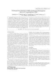 Cytomegalovirus Infection in Children Undergoing Hematopoietic ...