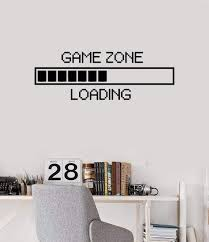 Amazon Com Vinyl Wall Decal Game Zone Loading Wall Sticker Home Decor Gamer Room Wall Mural Boys Bedroom Decoration Wall Stickers Ay1010 17x48 Black Arts Crafts Sewing