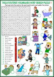 daily routines esl word search puzzle