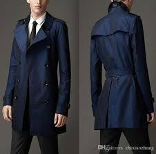 Satın Al Mavi Erkek Mont Kruvaze Elbise Ince Uygun Palto Uzun Kollu 2019  Yeni Tasarımcı Orta Uzun Ceket Erkekler Adam Siper, $175.7 | DHgate.Com'da