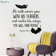Bible Verse Wall Decal He Will Cover You With His Feathers By Religious Murals Psalm 91 4 Scripture Decoration Quotes Yt1301 Wall Stickers Aliexpress