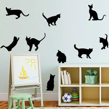 Lovely 9 Black Cute Cats Wall Stickers Cat Animals Wall Decals Girls Vinyl Home Decor Living Room Children Room Art Murals Wall Stickers Aliexpress
