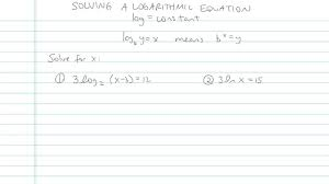 solving a logarithmic equation math