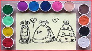 Đồ chơi TÔ MÀU TRANH CÁT 3 VÁY ĐẦM BÚP BÊ CÔNG CHÚA - Sand painting dress  toys (Chim Xinh) - YouTube