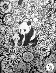 Panda Floral Zentangle Design By Byjamierose Kleurplaten Kleuren