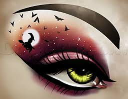 how to draw witch eye makeup step by