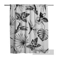 Vecotr Hand Drawn Seamless Pattern Tropical Plants Exotic Engraved Leaves And Flowers Monstera Livistona Palm Leaves Bird Of Paradise Plumeria Hibiscus Hummingbird Shower Curtain Pixers We Live To Change