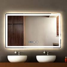 simple frameless wall bathroom mirror