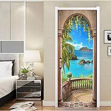 Amazon Com Flfk 3d Balcony Arch Seascape Door Stickers Self Adhesive Wall Murals Photo Wall Decals 30 3 X78 7 Home Kitchen