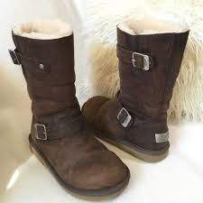 distressed brown leather buckle boots