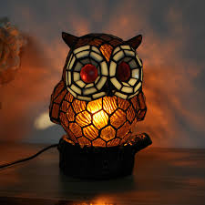 Owl Animal Table Lamp Kids Room Stained Glass Lamp