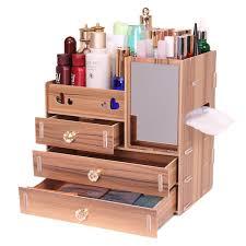 wooden cosmetics organizer makeup