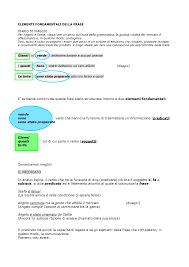 Elementi fondamentali della frase - Docsity