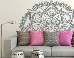 Half Mandala Vinyl Wall Decal Indian Mandala Decor Mandala Etsy In 2020 Wall Decals Living Room Vinyl Wall Decals Wall Patterns