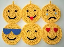 Six Emojis Set Of Six Crochet Emojis Made From New Yellow Etsy