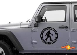 Product Official Bigfoot Search Vehicle Set Vinyl Door Decal Sasquatch Car Truck 4x4