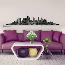 Shop Chicago Skyline Wall Sticker Wall Decal 48 8 X 7 9 Inch In Black Wall Vinyl Overstock 18216388