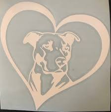 Pitbull Car Decal Love My Pitbull Car Sticker Heart Pitbull Window Decal 5x5in Permanent Decal In 2020 Pitbull Mom Decal Window Decals White Pitbull