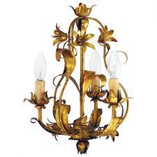 mid century chandelier gold tole circa