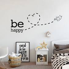 Happy Bird Wall Mural Be Happy Positive Affirmation Wall Art Decal Nordicwallart Com