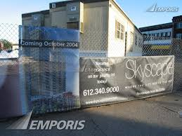 Sales Trailer And Advertisement On Fence Skyscape Minneapolis Image 382091 Images Emporis
