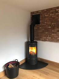 wood burning stove installation in a