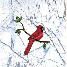 Amazon Com Bird Cardinal Perched On Branch Stained Glass Style See Through Vinyl Window Decal Yadda Yadda Design Co 5 5 W X 6 H Cardinal Arts Crafts Sewing