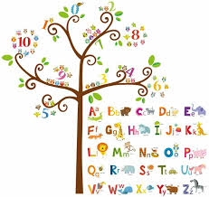 Decowall Da 1503 Animal Alphabet Abc And Owl Numbers Tree Kids Wall Stickers For Sale Online