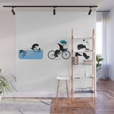 Panda Triathlon Wall Mural By Grumpyteds Society6