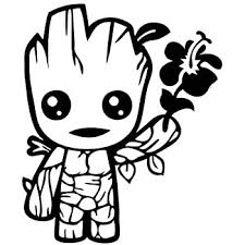 Amazon Com Cute Baby Groot Holding Flower 5 Tall Color Black Decal Laptop Tablet Skateboard Car Windows Stickers Computers Accessories