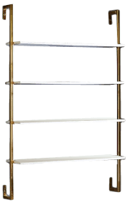 olivia wall mounted shelves brass