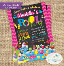 Shopkins Pool Party Invitation Chalkboard Background Printable