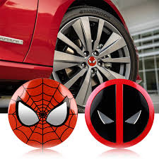 Car Styling 4pcs Marvel The Avengers Deadpool Spiderman Cartoon Tire Wheel Center Hub Cap Badge Decal Sticker Accessories Buy At The Price Of 1 71 In Aliexpress Com Imall Com