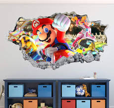 Amazon Com Mario Kart Wall Decal Art Decor 3d Smashed Game Bros Sticker Mural Kids Gift Large Ha18 50 W X 30 H Home Kitchen