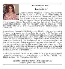 "Kristine Smith ""Kris"" ~ June 16, 2018 | Passages | Obituaries |  gvpennysaver.com"