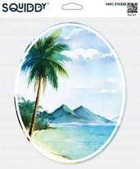 Squiddy Tropical Island Beach Scene Palm Tree Watercolor Vinyl Sticker 7 Tall Top Nutrition Expert