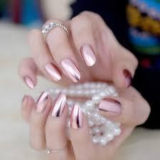 24pcs Champagne Metallic Acrylic Nails Medium Full Cover Salon