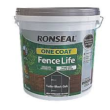 Ronseal One Coat Fence Life Tudor Black Oak 9ltr Fence Paint Screwfix Com