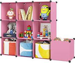 Amazon Com Kousi Kids Dresser Kids Toy Storage Cabinet Kids Closet Portable Closet Wardrobe Children Bedroom Armoire Clothes Hanging Storage Rack Cube Organizer Cute Cartoon Safety Large Sturdy Furniture Decor