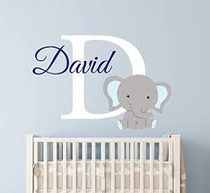 Amazon Com Custom Elephant Name Wall Decal For Boys Nursery Wall Decals Baby Room Decor Elephant Wall Art Vinyl Sticker Decor Vinyl Sticker 24 W X 16 H Arts Crafts Sewing