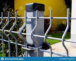 Light Painted Steel Fence And Post With Grassy Garden Background Stock Image Image Of Clip Garden 144085829