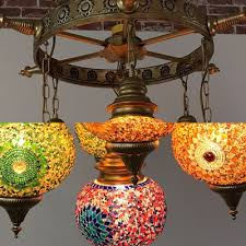 stained glass lantern chandelier dining