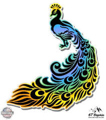Vinyl Peacock 7 X 8 In Decal For Your Car Home 14 Colors Available